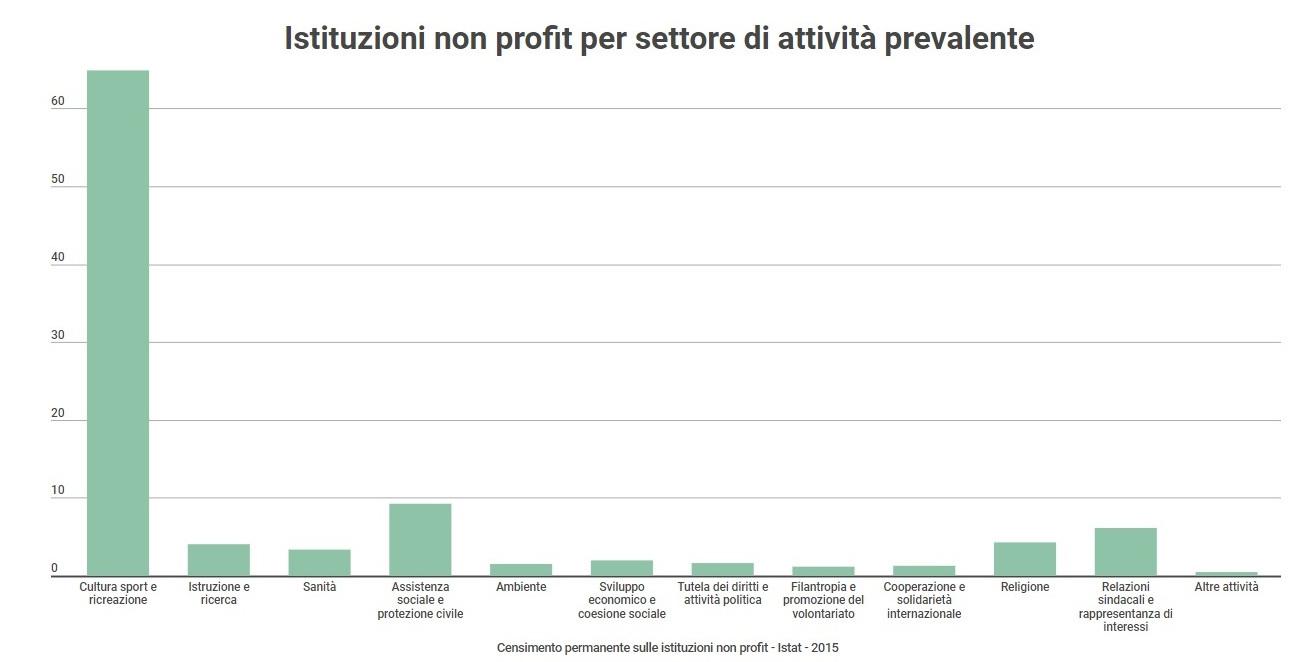 Istituzioni non profit per attività prevalente